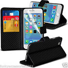 Carbon Fiber Look Leather Book Wallet Phone Case Cover✔LCD Film Screen Protector