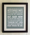 TYPOGRAPHY LYRICS PRINT - *UNFRAMED* Ed Sheeran, Thinking out Loud, PICTURE GIFT