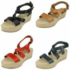 Womens Spot On Wedge Espadrille Strap Sandals