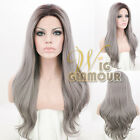 "Long Curly 20""-28"" Black Mixed Grey Ombre Lace Front Wig Heat Resistant"