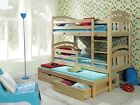 bed bunk  wooden pine white  3 sleeper mattress and drawers aduls size- strong