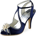 EP11058 Peep Toe High Heel Pumps Pearls Rhinestone Satin Evening Party Sandals