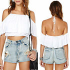 Wildbirds White Elastic Off-the Shoulder with Ruffle Detail Crop Top Shirt Tee