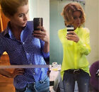 New Women's Shirts Lady Long Sleeve Casual Button Down Shirts Tops Blouses