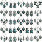 Vintage Women's Antique Silver Turquoise Chic Necklace Hook Earring Set Jewelry