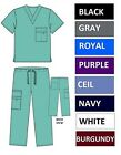 Внешний вид - NWT Unisex Nursing Medical Solid Scrubs Top Pants or Sets 8 Pockets XS S M L XL