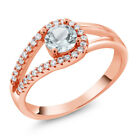 0.80 Ct Round Natural Sky Blue Aquamarine 18K Rose Gold Plated Silver Ring