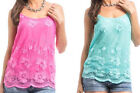 Womens Juniors Pink Green Embroidered Mesh Flower Layered Tank Top Shirt Blouse