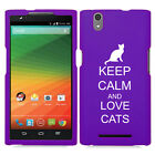 For ZTE Zmax Z970 Rubber Hard Shockproof Impact Case Cover Keep Calm Love Cats