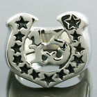 Men's Silver Horseshoe Lucky Number 13 Black Stars Stainless Steel Rings US 9-13