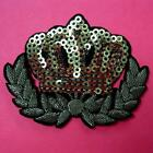 Crown Queen King Gold Sequins Iron on Sew Patch Cute Applique Badge Embroidered