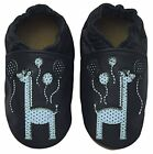Baby Boys/Girls Toddler Navy Rose et Chocolat Happy Giraffe Leather Pram Shoe