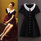 Summer European Fashion Womens Doll collar Short Sleeve Slim Button Mini Dress