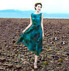 Fashion European Womens Summer Bohemian 100% Silk Sleeveless Beach Long Dress
