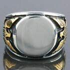 316L Men's Golden Eagle Hawk Stainless Steel Biker Silver Finger Rings Size 9-13