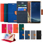 Canvas Diary Slim Stand Flip Leather Wallet Case Cover For iPhone 11 Galaxy S10+
