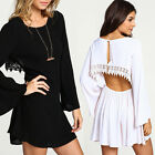 Sexy Womens Casual Long Sleeve Lace Backless Evening Party Cocktail Mini Dress