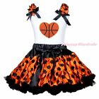 Basketball Heart White Top Halloween Orange Black Dot Skirt Girl Outfit Set 1-8Y