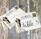 DOUBLE or SINGLE SIDED BRIDE & GROOM POSTCARD WEDDING TABLE CARDS or SIGNS #188