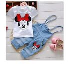 Minnie Mouse Shirt Overalls Pants Set Outfit Costume Princess Girls Kids, Mickey