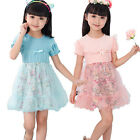 Fashion Baby Girls Floral Princess Short Sleeve Ruffles Party Prom Dress 2-6Y