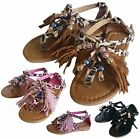 NEW Baby Toddler Girls Tribal Feather Strappy Sandal Size 5 to 10 Black Pink Tan