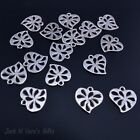 HEART CHARMS Patterened  - 20 Pcs - Antique Silver Colour - Jewellery - Crafts