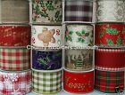 Gisela Graham ~ Wired Edge Christmas Ribbons  ~ Assorted Designs ~