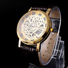Hot Skeleton Mens/Womens Leather Band Stainless Steel Analog Quartz Wrist Watch
