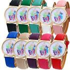 Fashion Geneva Watch Ladies Faux Leather Butterfly Analog Quartz Wrist Watches