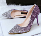 Womens High Heel Pumps Ladies Sweet Glitter Sequins Slip On Party Wedding Shoes