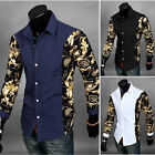 2015 New Formal Slim Fit Floral Fashion Men's Long Sleeve Casual Dress Shirt