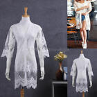 White Womens Ladies Crochet Sheer Lace Cardigan Flowers Floral Gauze Long Tops