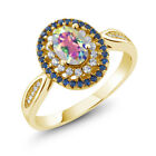 1.55 Ct Natural Mercury Mist Mystic Topaz 18K Yellow Gold Plated Silver Ring