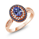 1.55 Ct Natural Tanzanite Blue Mystic Topaz 18K Rose Gold Plated Silver Ring