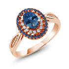 1.55 Ct Natural Sapphire Blue Mystic Topaz 18K Rose Gold Plated Silver Ring