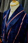 Derek Rose Navy & Red Towelling Dressing Gown/Robe in 100% Woven Cotton