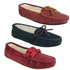 LADIES SOFT FUR MOCCASIN SLIPPER SUEDE LEATHER FITTING D K BY CLARKS WAKE ME