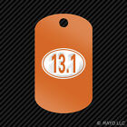 Oval 13.1 Keychain GI dog tag engraved many colors half marathon 13 miles