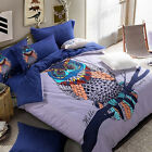 Activity Printing Cartoon Owl Cotton Twin Queen King Size Bedding Set 4Pcs Blue