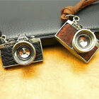 Retro Camera Long Pendant Leather Cord Necklace Mens Womens Brown Black Hot