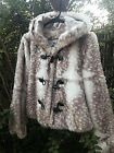 BEAUTIFUL FAUX Fur Cream/Brown Hooded Jacket  -  Size SMALL - New