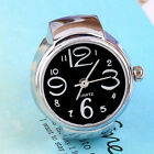 Creative Fashion Steel Round Elastic Quartz Finger Ring Watch Lady Girl Gift UF