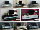 Tv stand cabinet with led lights high gloss   entertainment floating wall unit