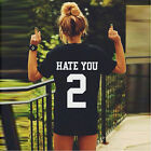 Unisex Boyfriend Personality HATE YOU 2 Printing Tops Cotta T Shirt UK13