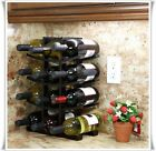 Wine 12-Bottle Storage Rack Bamboo Countertop Bar Liquor Cabinet Kitchen Decor