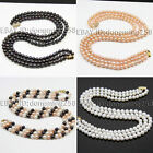 3 rows AA 8-9mm 9-10mm white black pink polychrome akoya pearl necklace s162