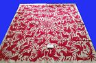 Bedspread / Tablecloth ,Mexican Otomi fabric, hnd Emb 100% cotton 73 x 66.5 #14