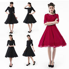 Women Retro 50s Short Sleeve Fit&Flared Cocktail Swing Wiggle Rockabilly Dresses