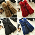 Top Quality Real Genuine With Fur Vest Gilet Waistcoat Coat Jacket Warm Black
